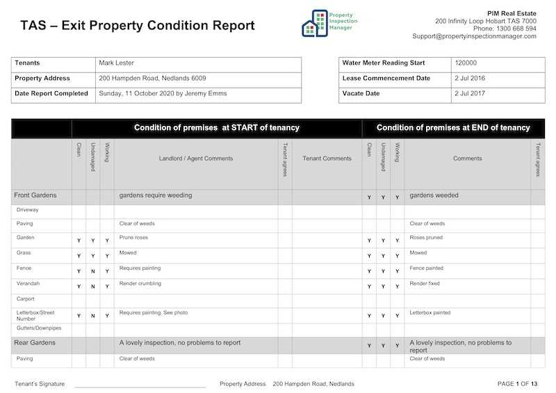 Property Inspection Manager in Property Condition Assessment Report Template
