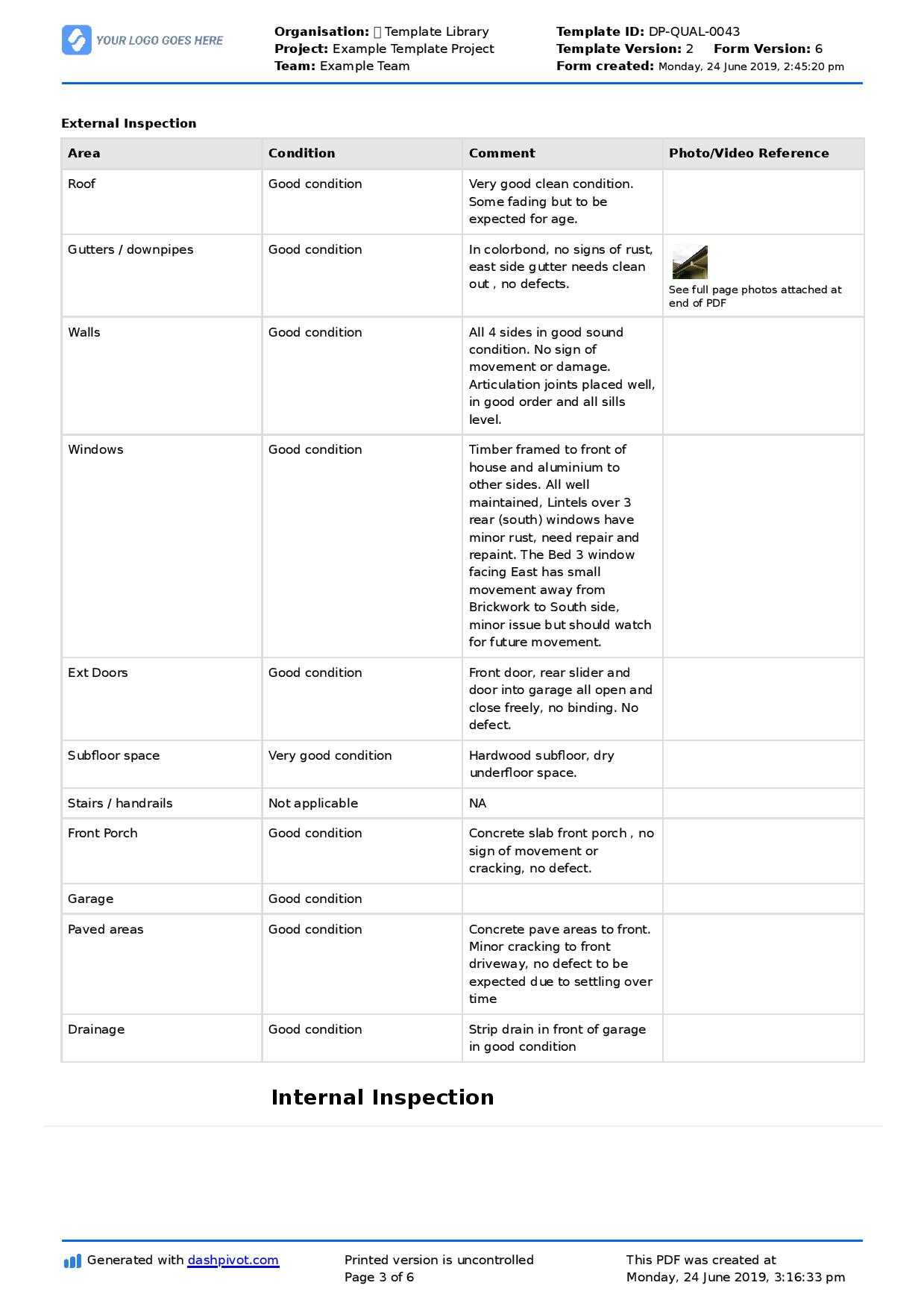 Property Inspection Report Template (Free And Customisable) for Sound Report Template