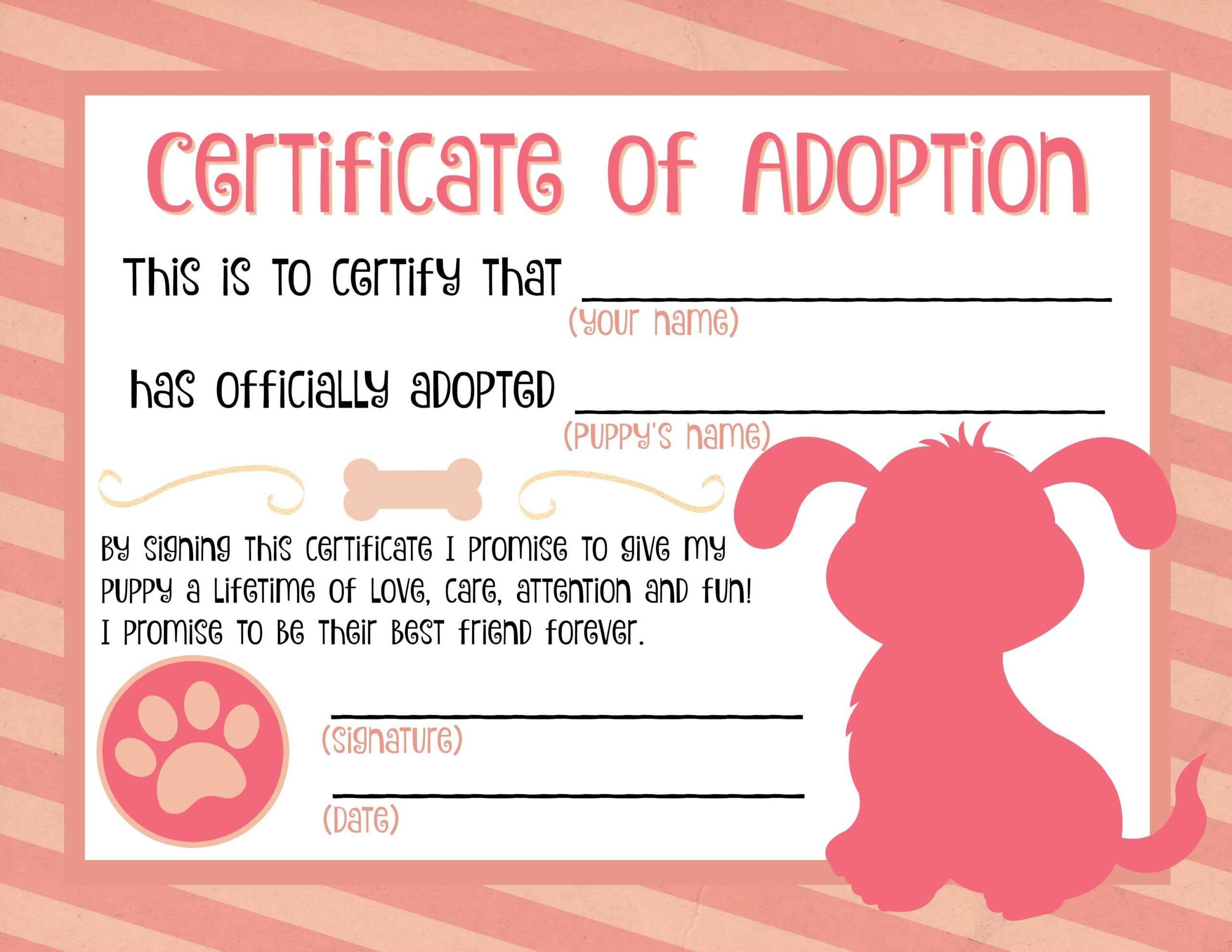 Puppy Adoption Certificate … In 2019 | Puppy Birthday in Toy Adoption Certificate Template