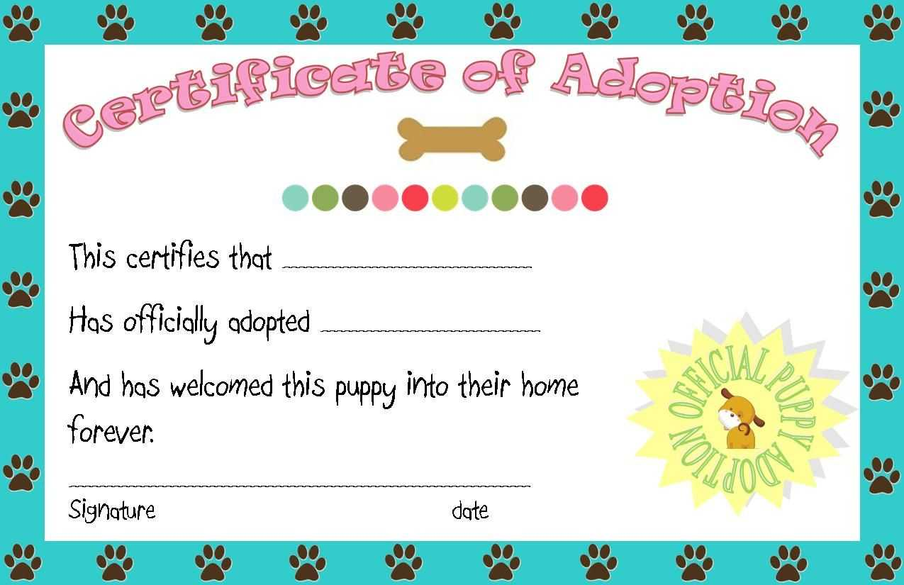Puppy Party Adoption Certificate Printable | Puppy Party with Toy Adoption Certificate Template
