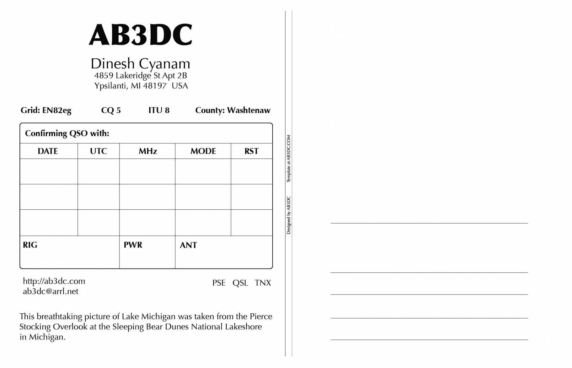 Qsl Card Template 650*418 - Photoshop Archives Ab3Dcs Ham Within Qsl Card Template