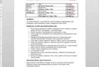 Quality Manager Job Description inside Job Descriptions Template Word