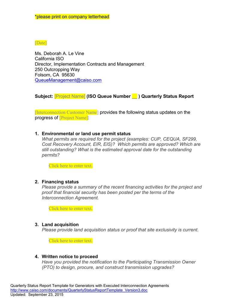 Queue Management Quarterly Status Report Template intended for Implementation Report Template