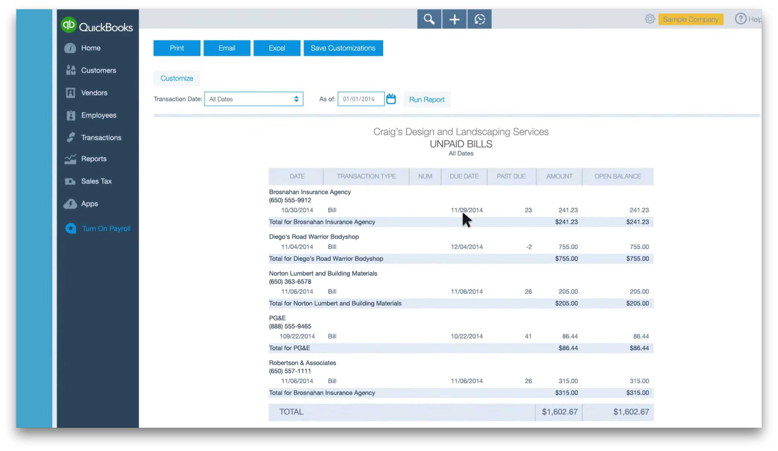 Quickbooks Reports For Expenses And Payments in Quick Book Reports Templates