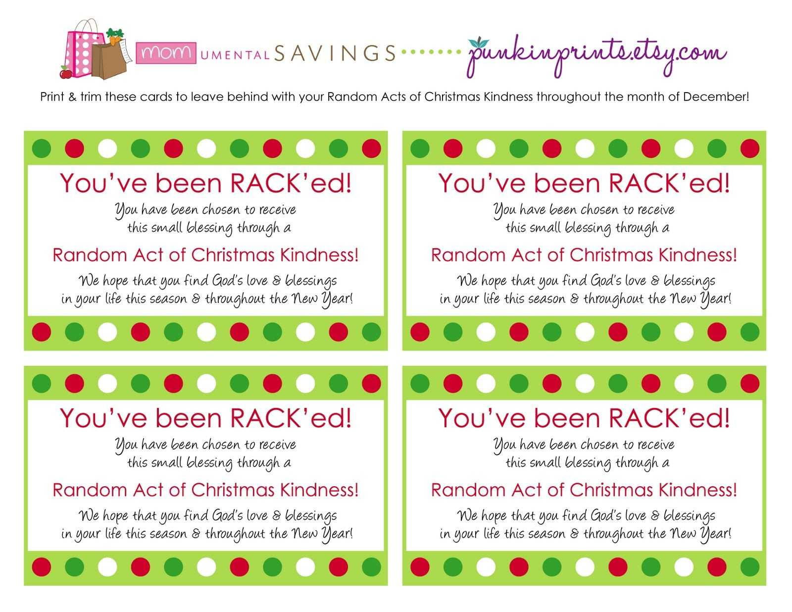 Random Act Of Christmas Kindness Cards   Get The Rack'd throughout Random Acts Of Kindness Cards Templates