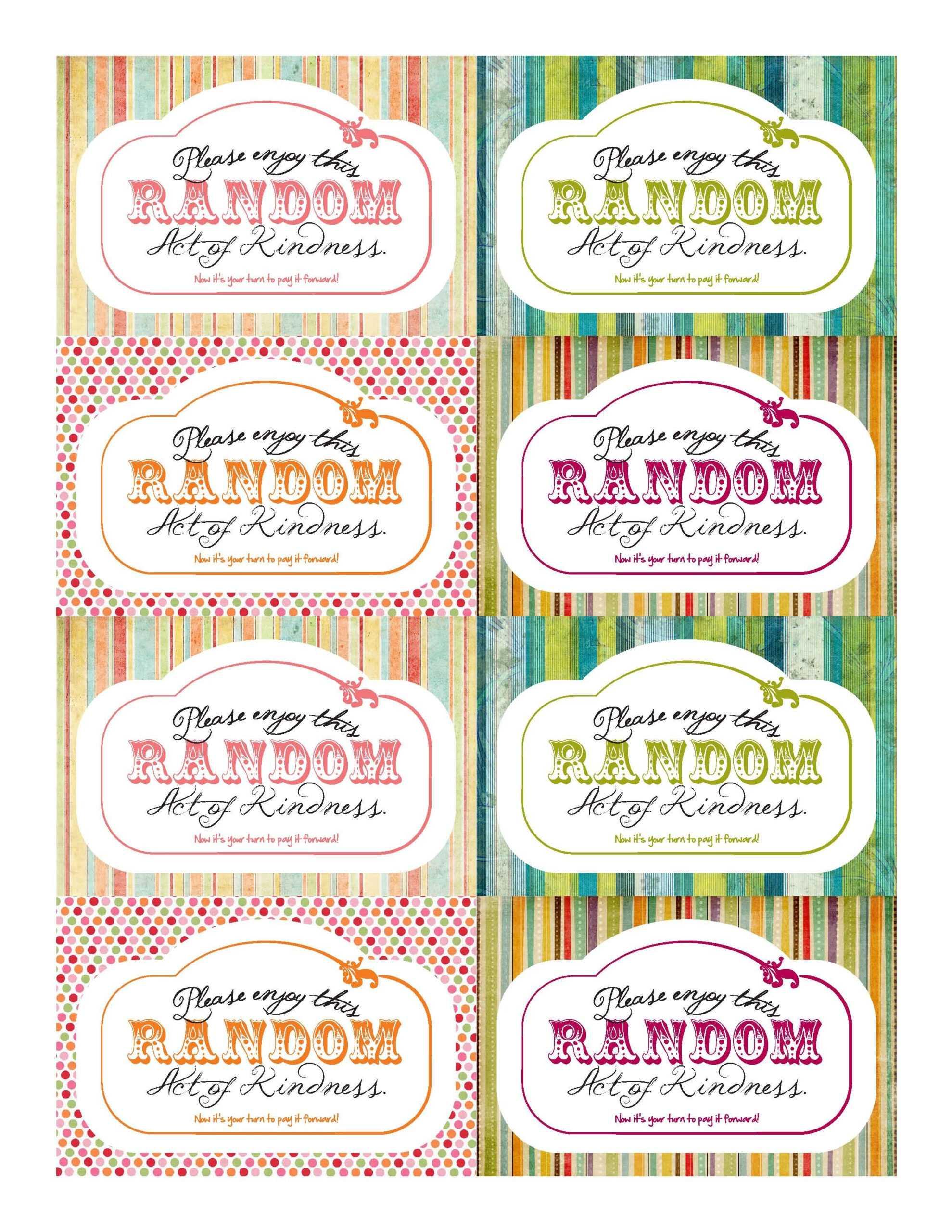 Random Acts Of Kindness Printables   Kindness Matters in Random Acts Of Kindness Cards Templates