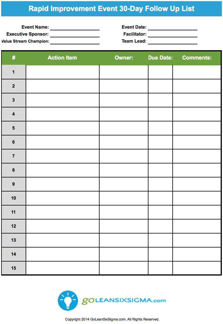 Rapid Improvement Event – 30-Day Follow Up List | Sign In within Improvement Report Template