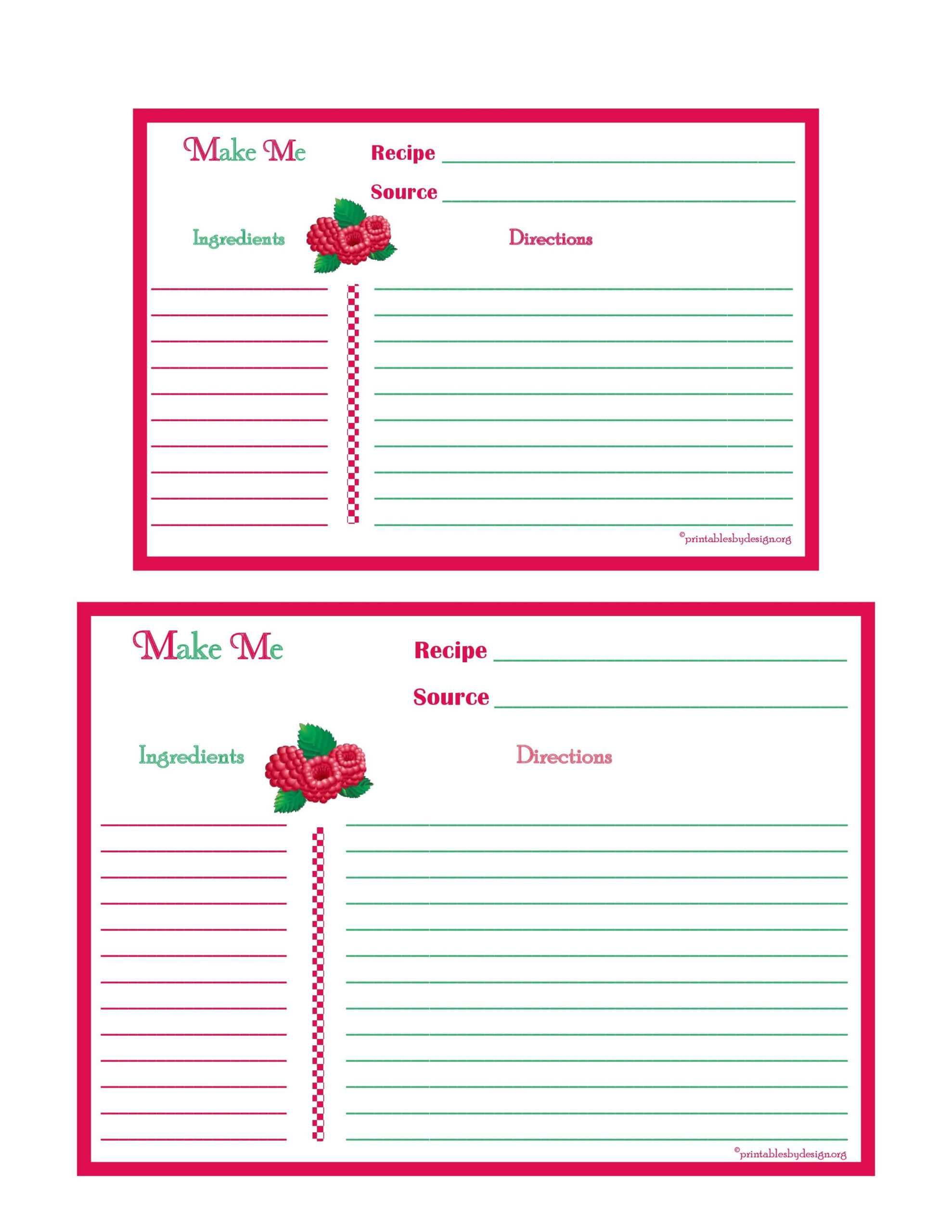 Raspberries Recipe Card - 4X6 & 5X7 Page | Printable Recipe In 4X6 Photo Card Template Free