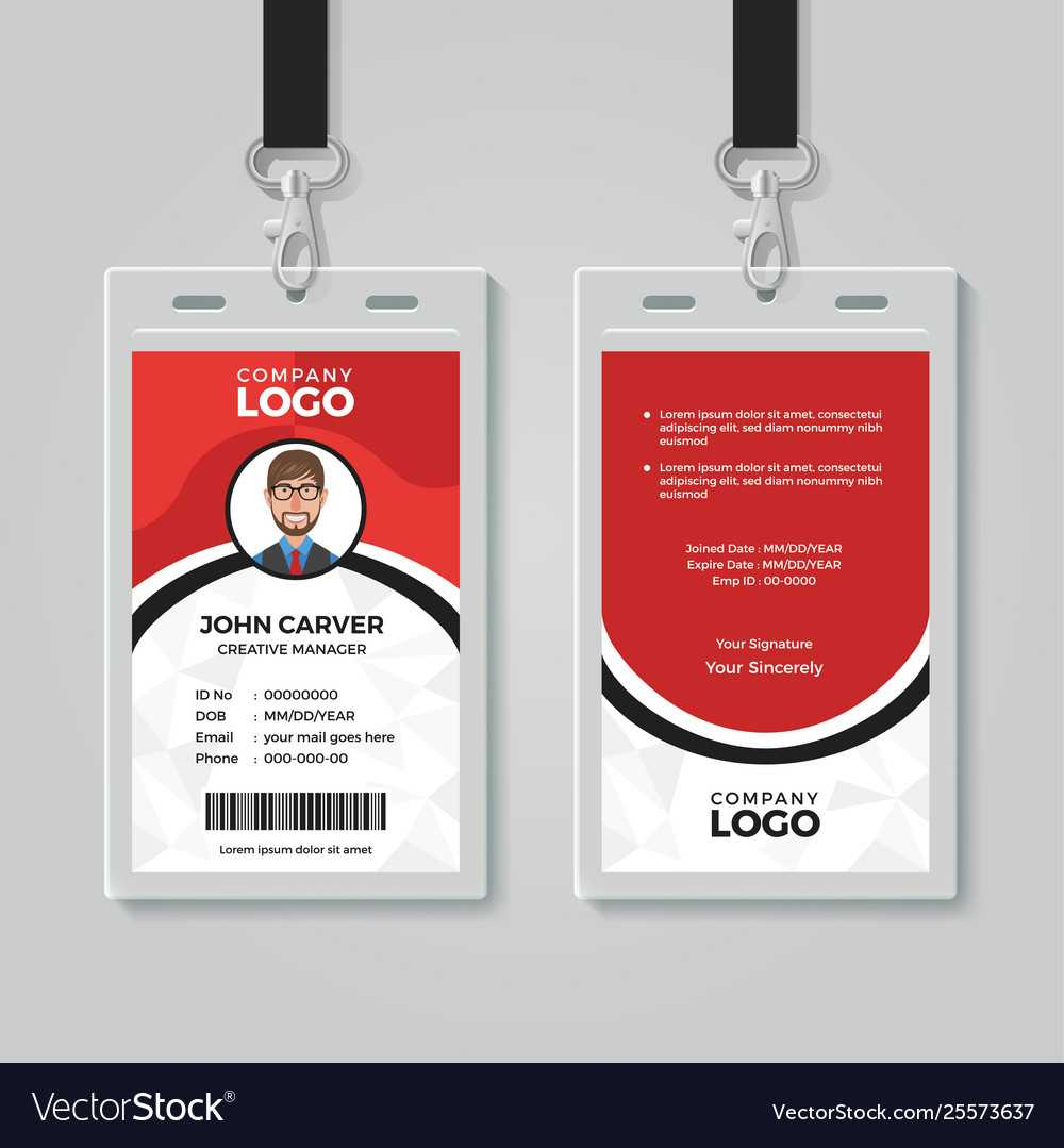 Red And White Office Id Card Template Pertaining To Template For Id Card Free Download