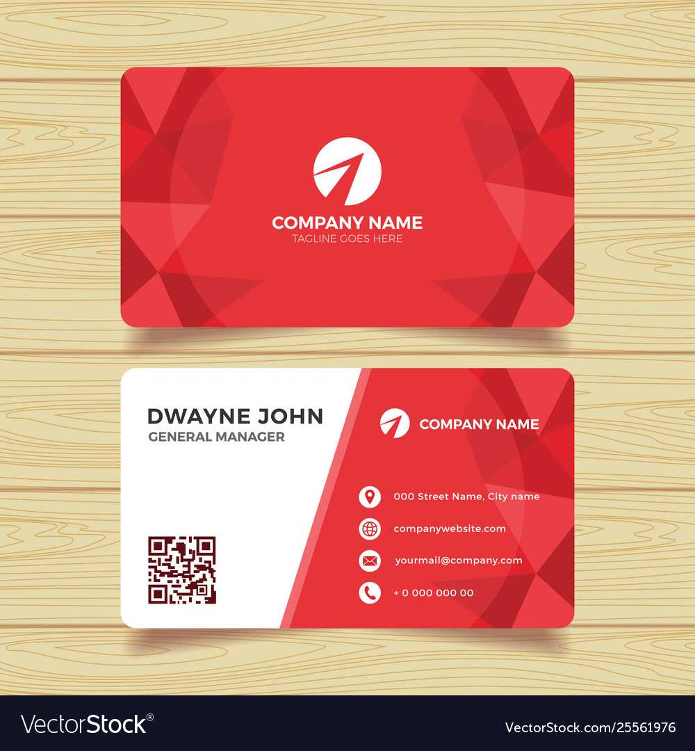 Red Geometric Business Card Template Regarding Calling Card Free Template
