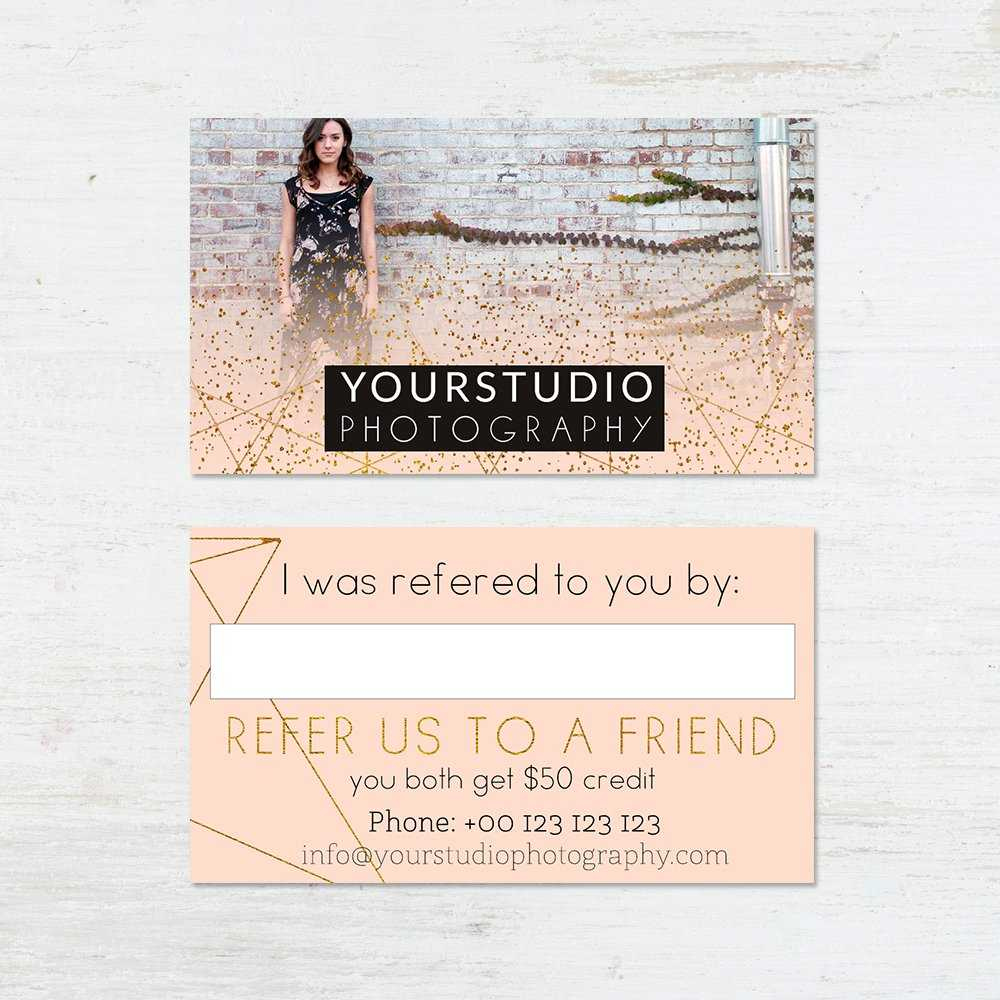 Referral Card Template | Pastel Greetings With Referral Card Template