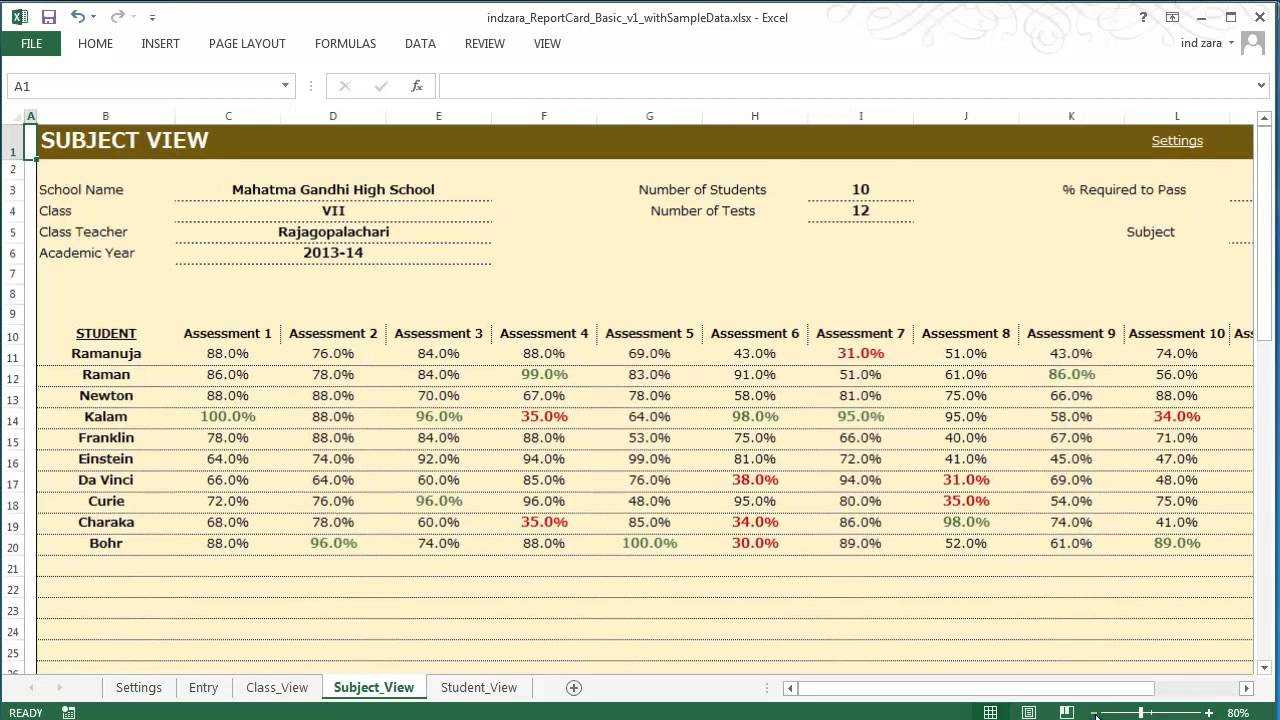 Report Card (Basic) - Excel Template in Sample Job Cards Templates