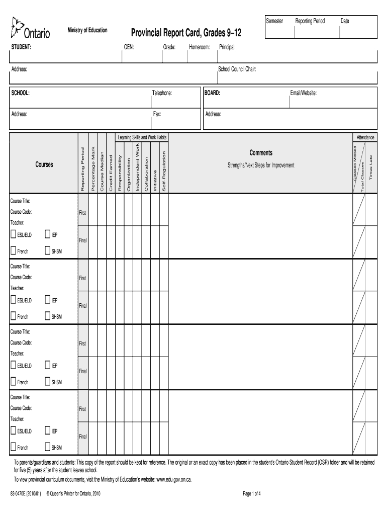 Report Card Template - Fill Online, Printable, Fillable intended for Fake Report Card Template