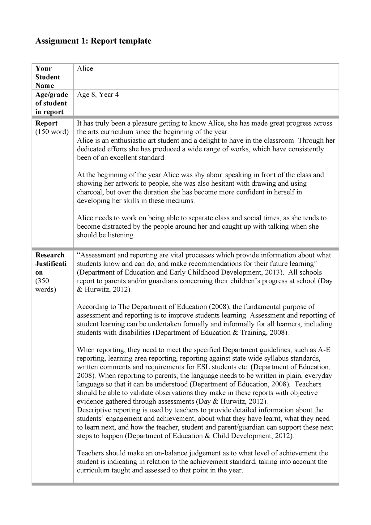 Report Template – Assignment – 6890 Arts Education 2 – Uc Throughout Assignment Report Template
