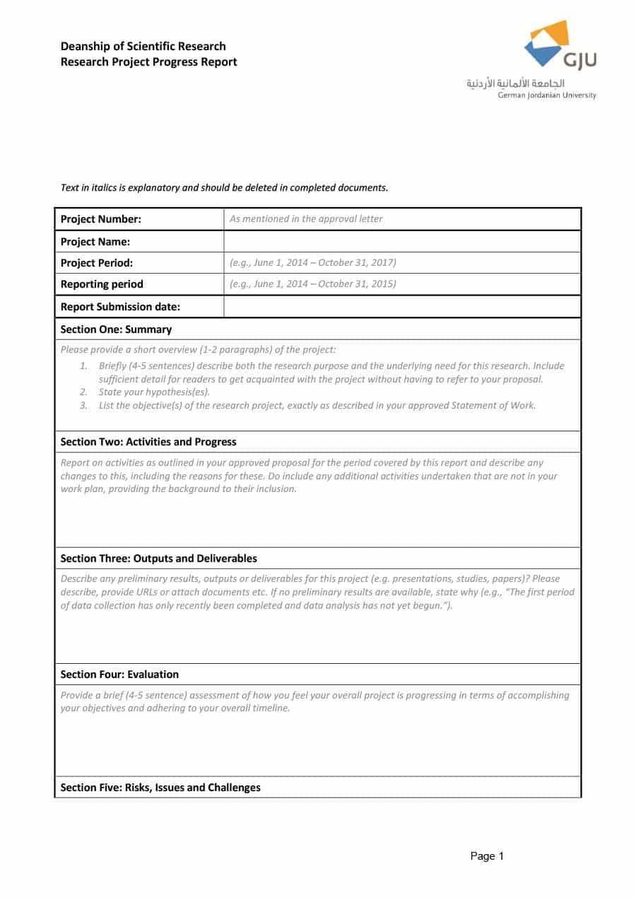 Research Project Progress Report Template – Atlantaauctionco Regarding Site Progress Report Template