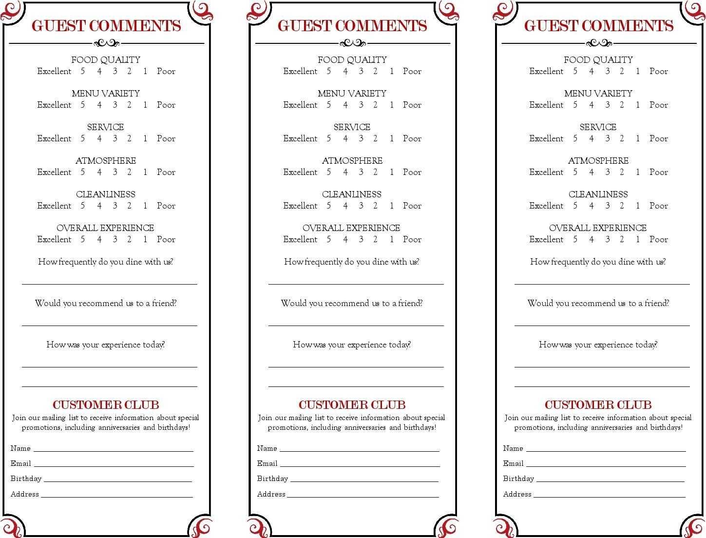 Restaurant Comment Card - Google Search In 2019 | Menu regarding Restaurant Comment Card Template