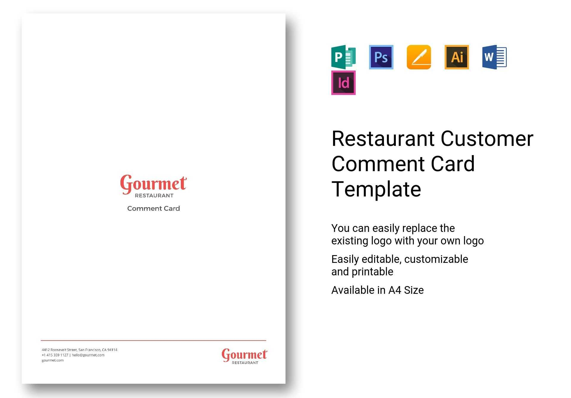 Restaurant Customer Comment Card Template In Psd, Word inside Restaurant Comment Card Template