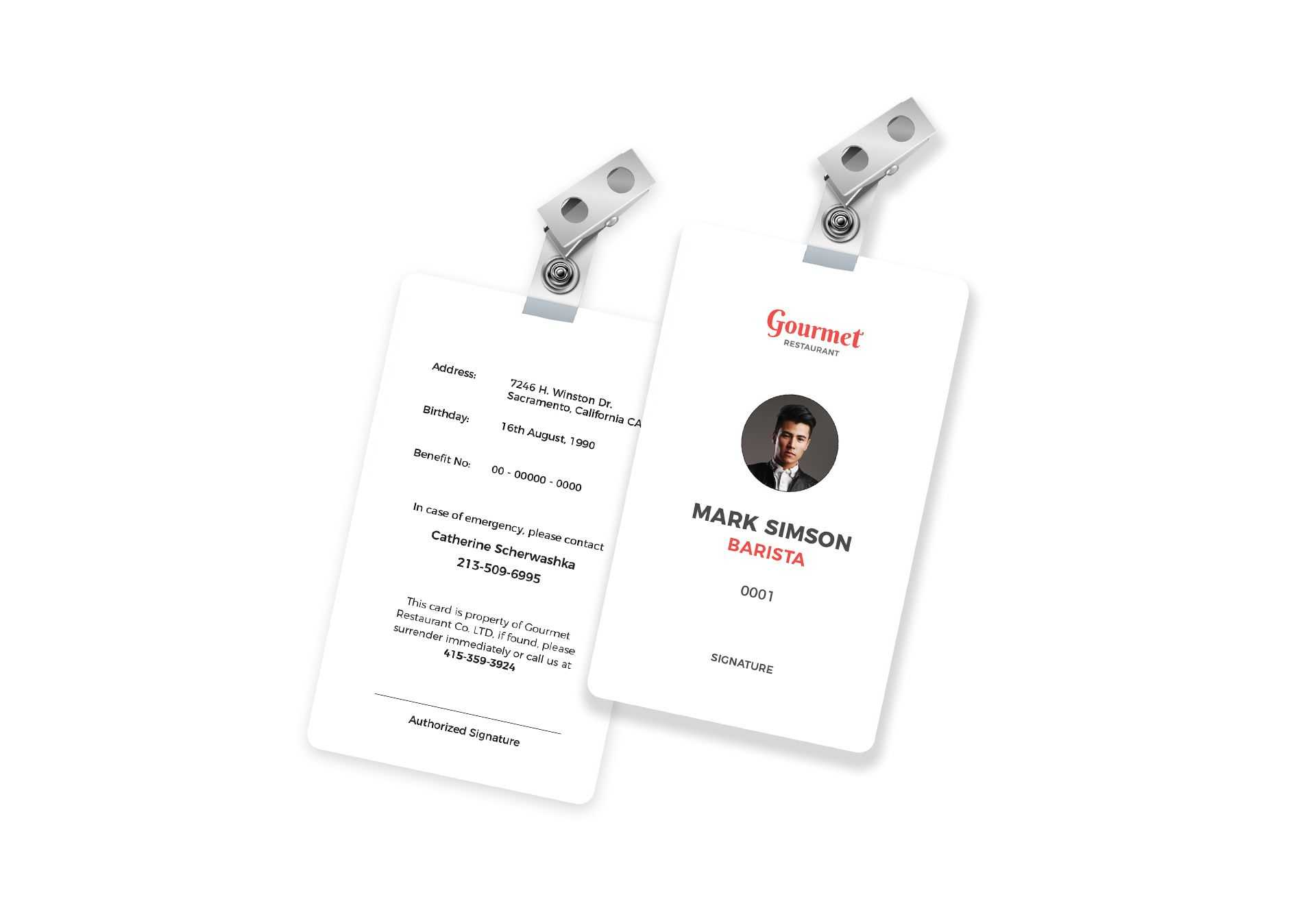 Restaurant Identity Card Template In Psd, Word, Publisher in Id Badge Template Word