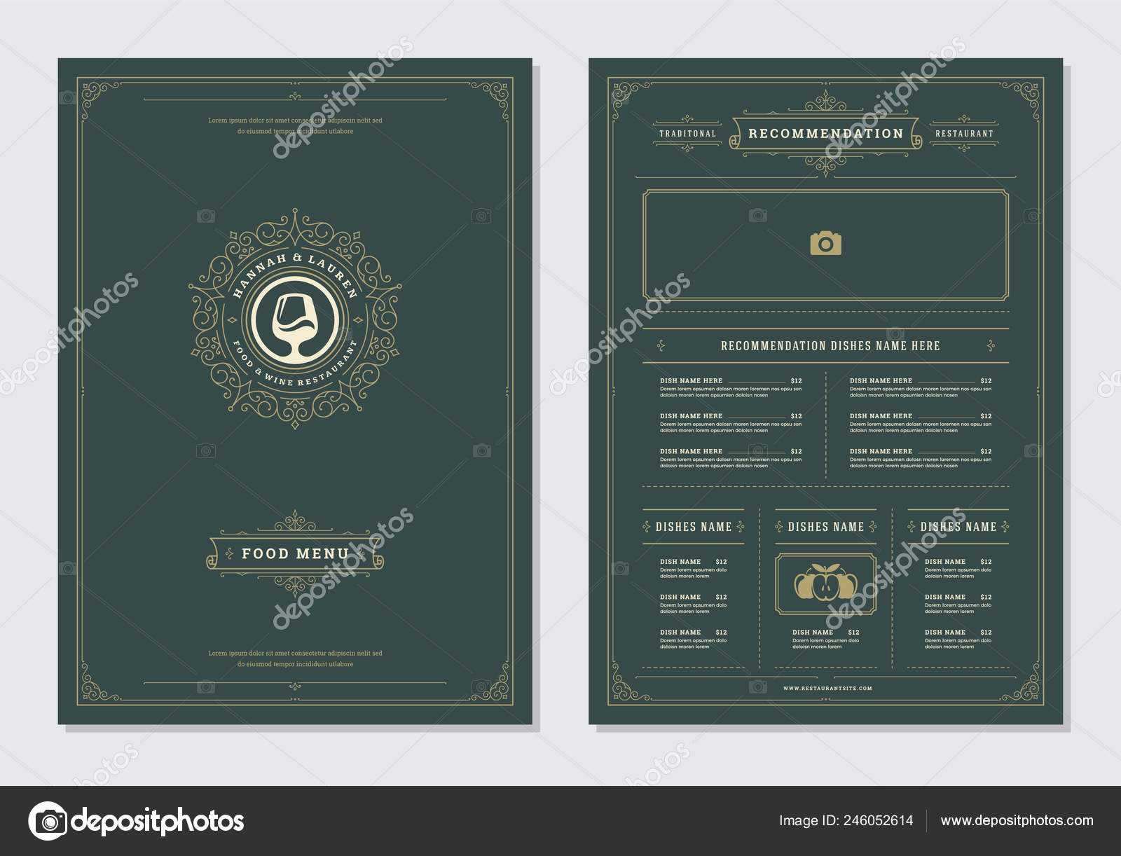 Restaurant Menu Design Logo Vector Brochure Template Wine with regard to Wine Brochure Template