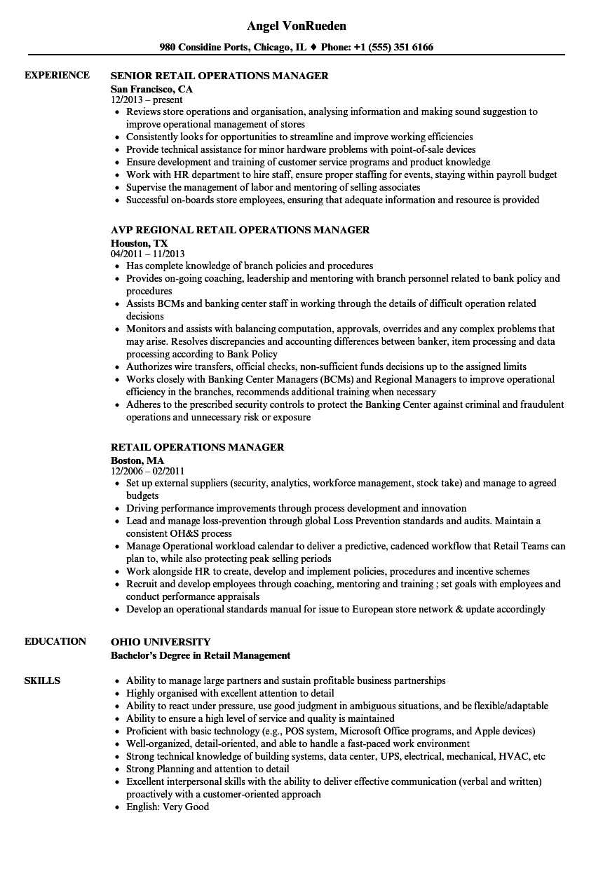 Retail Operations Manager Resume Samples | Velvet Jobs For Operations Manager Report Template