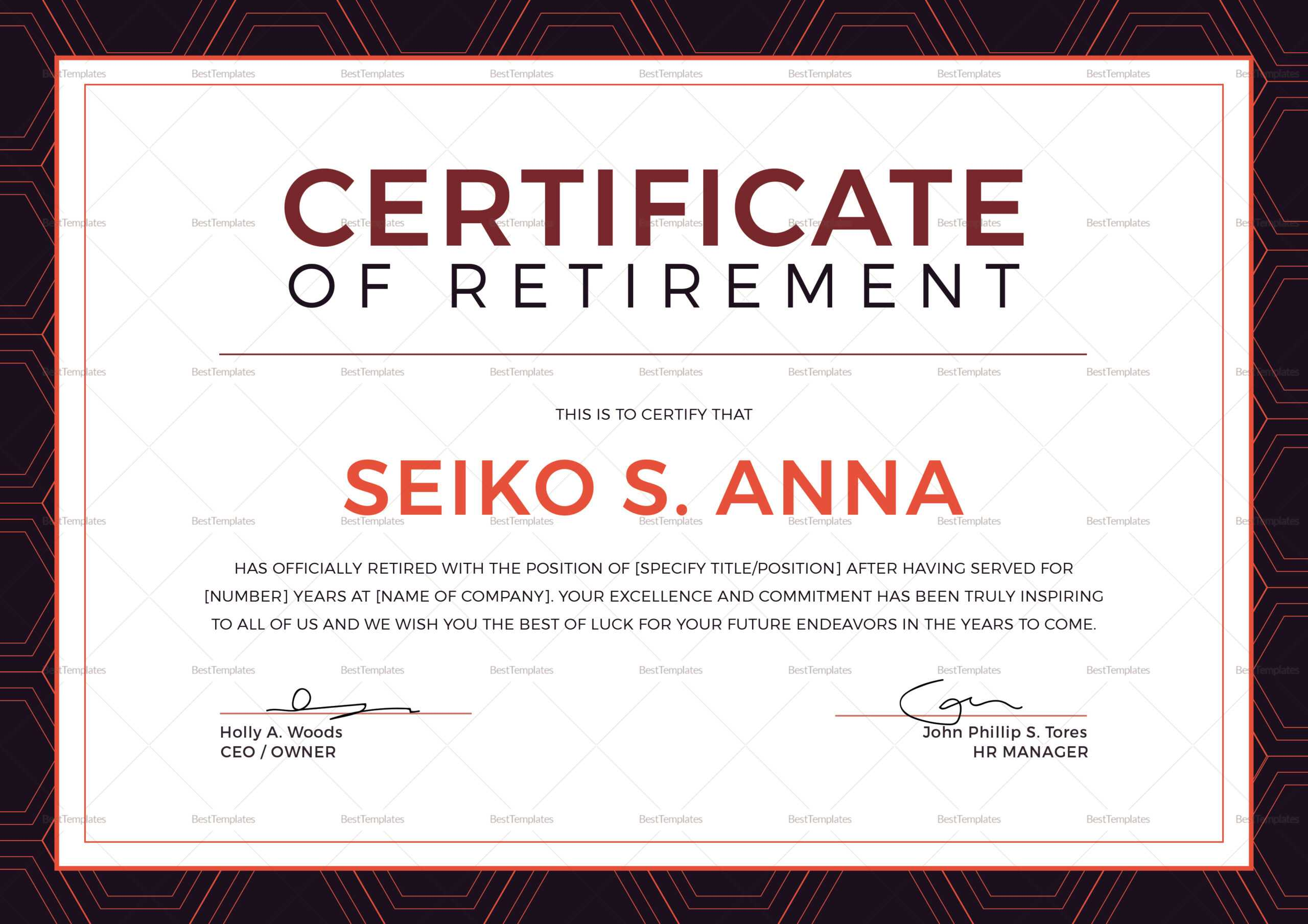 Retirement Certificate Template Intended For Retirement Certificate Template