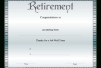 Retirement Certificate | Templates At Allbusinesstemplates regarding Retirement Certificate Template