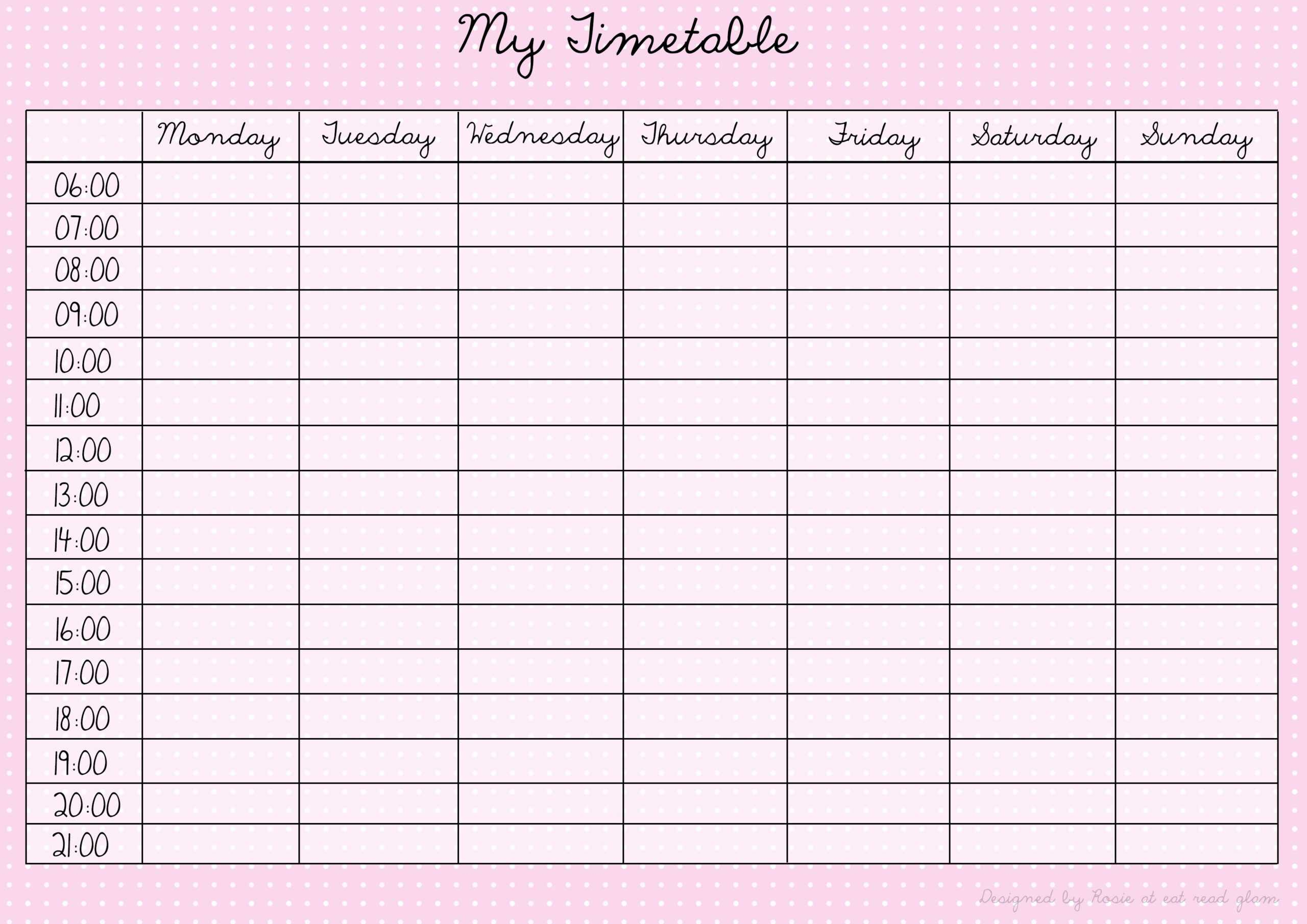 Revision Timetable Template Blank with Blank Revision Timetable Template