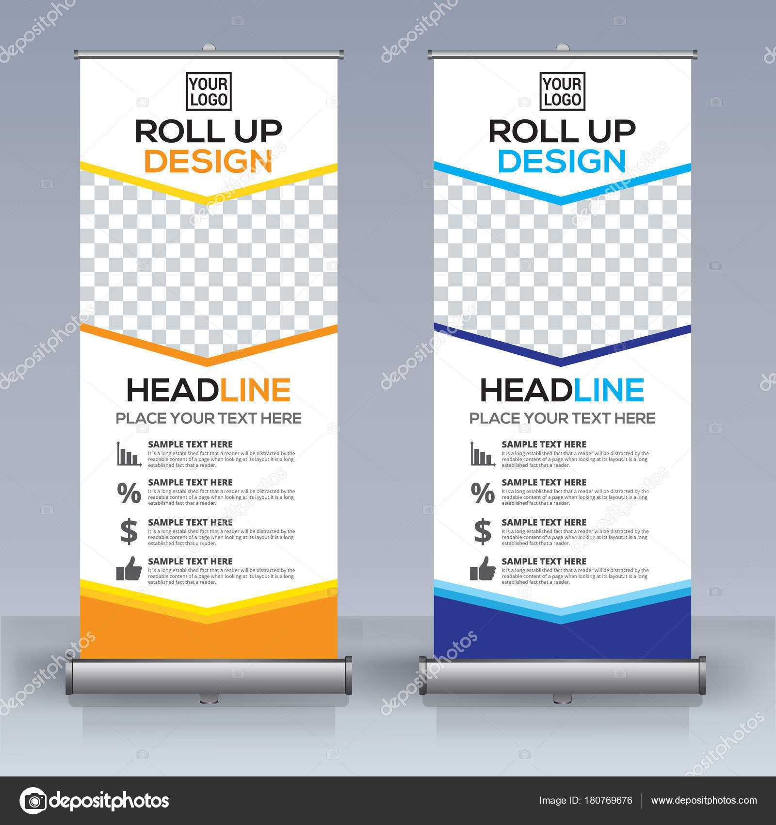Roll Banner Design Template Vertical Abstract Background for Retractable Banner Design Templates