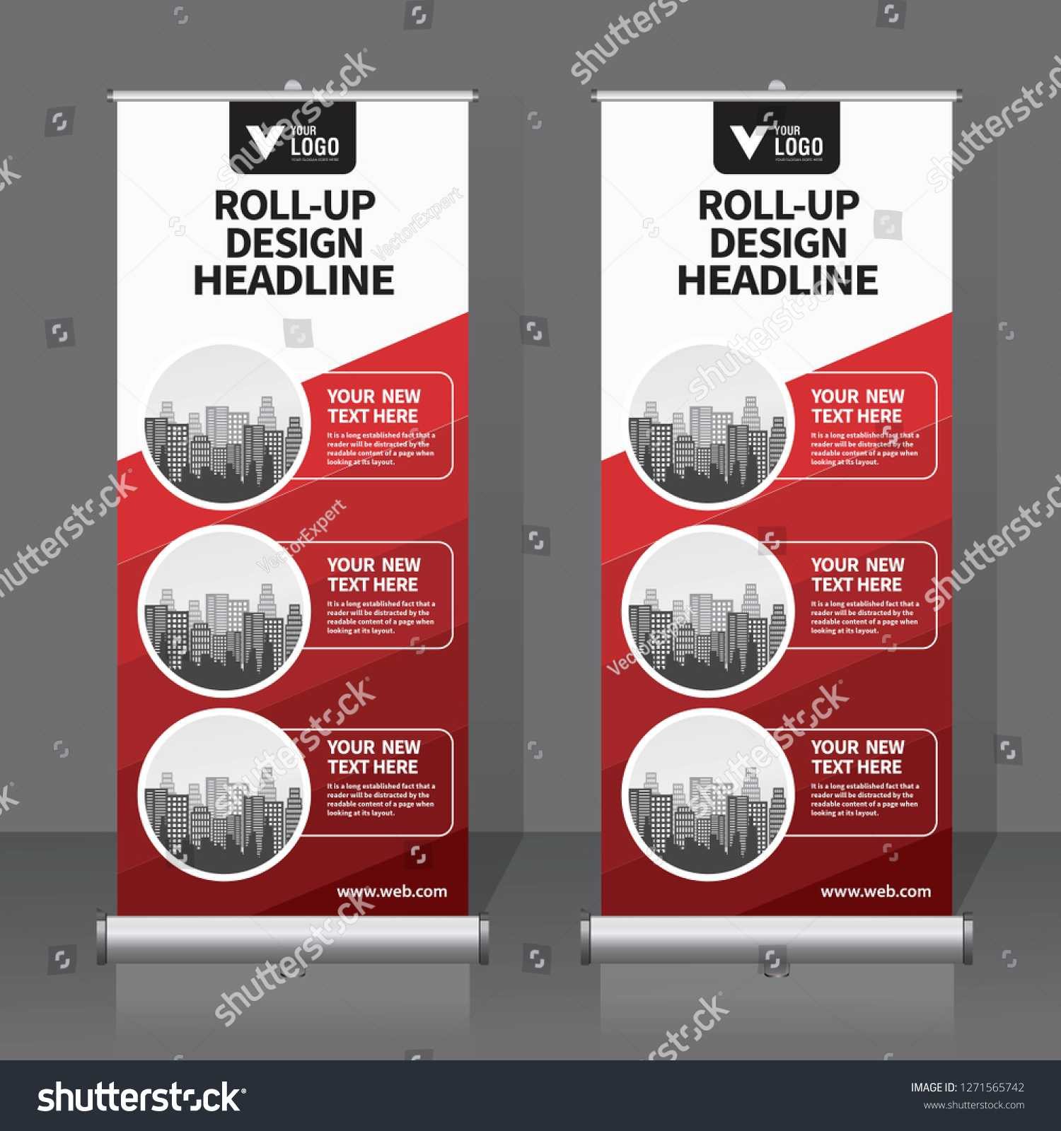 Roll Banner Design Template Vertical Abstract Stock Vector throughout Retractable Banner Design Templates