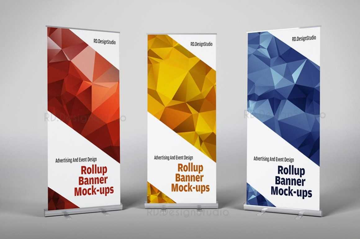 Roll Up Banner Mock-Ups | Rollup Banner, Pop Up Banner, Banner with Retractable Banner Design Templates