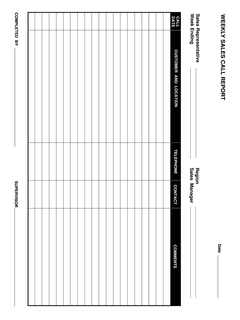 Sales Call Report - Fill Online, Printable, Fillable, Blank regarding Sales Call Report Template