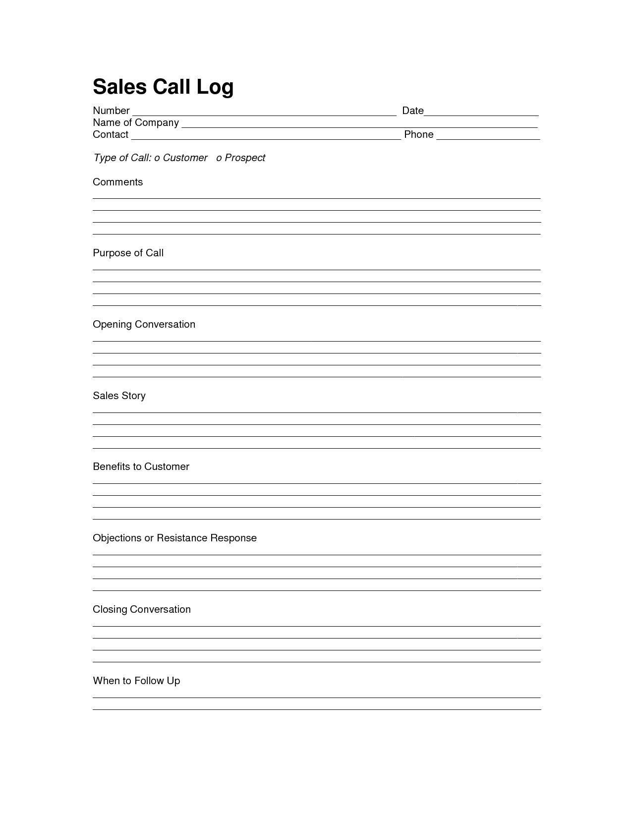 Sales Log Sheet Template   Sales Call Log Template   Sales with Sales Call Report Template