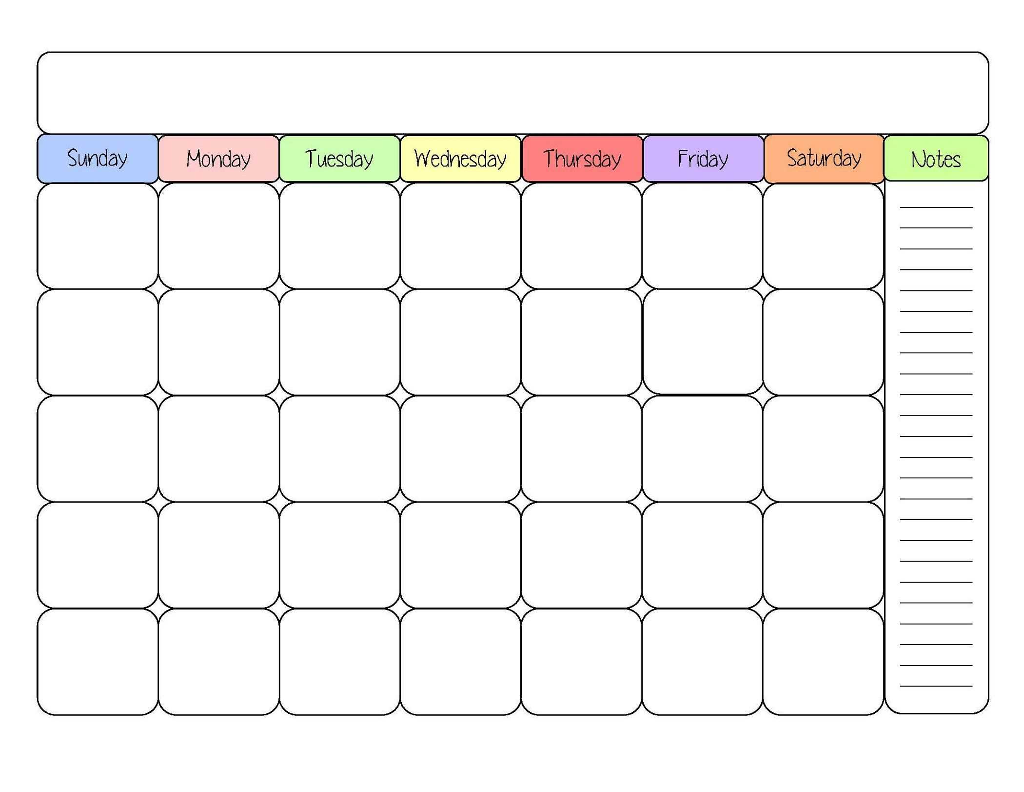 Sample Calendars To Print | Blank Monthly Calendar Template in Blank Activity Calendar Template