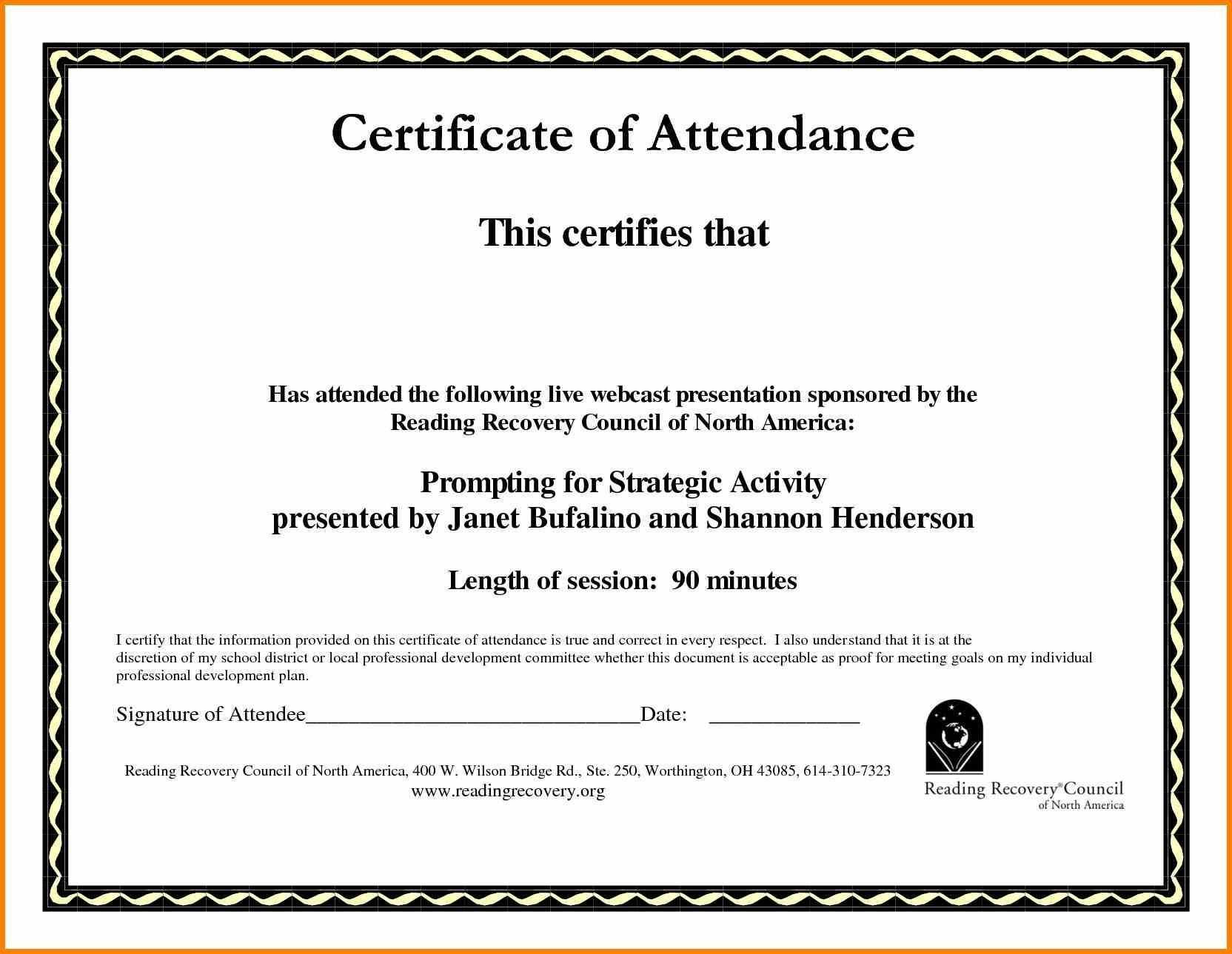 Sample Computer Course Completion Certificate Fres Beautiful Inside Attendance Certificate Template Word