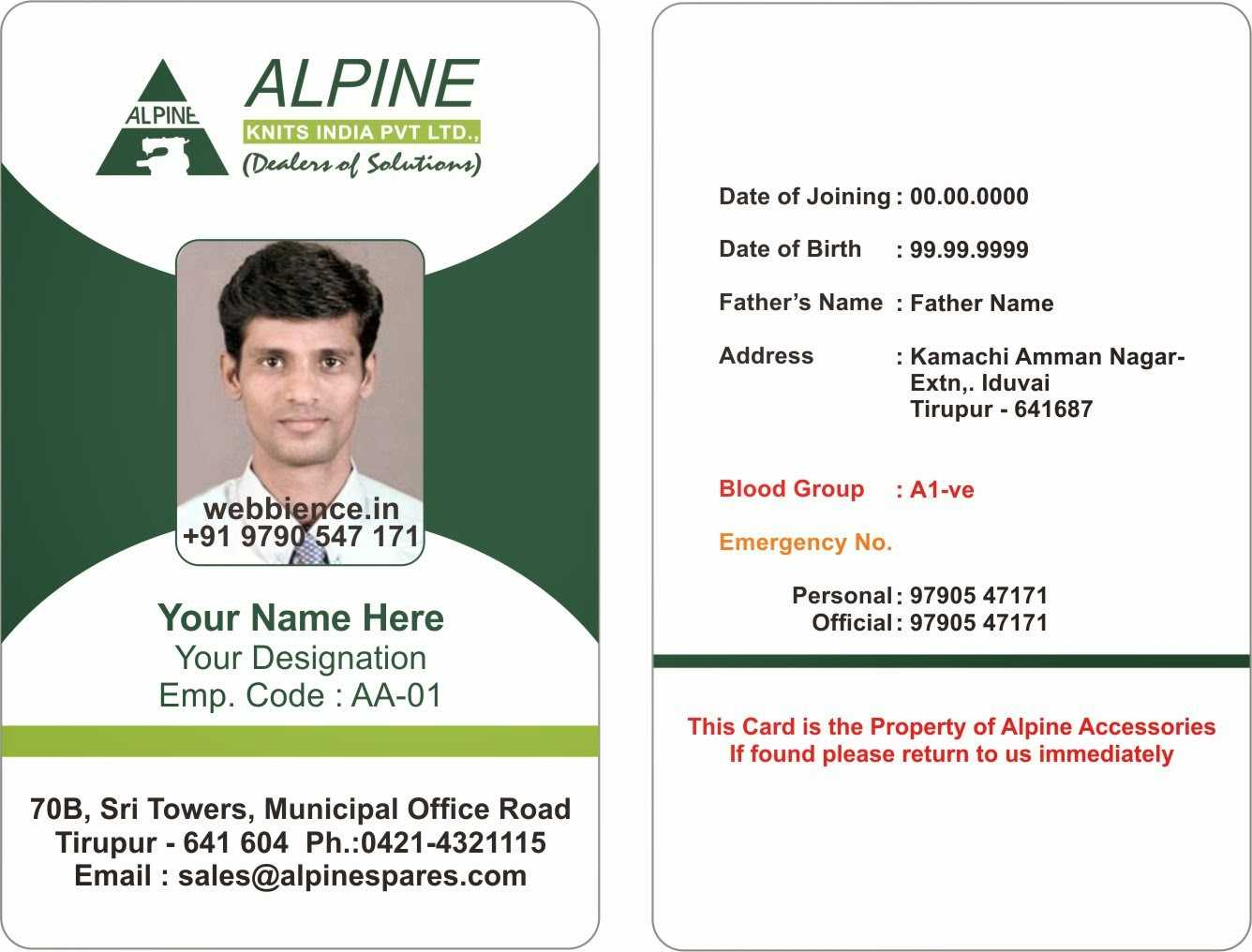Sample Employee Id Card - Magdalene-Project with Id Badge Template Word