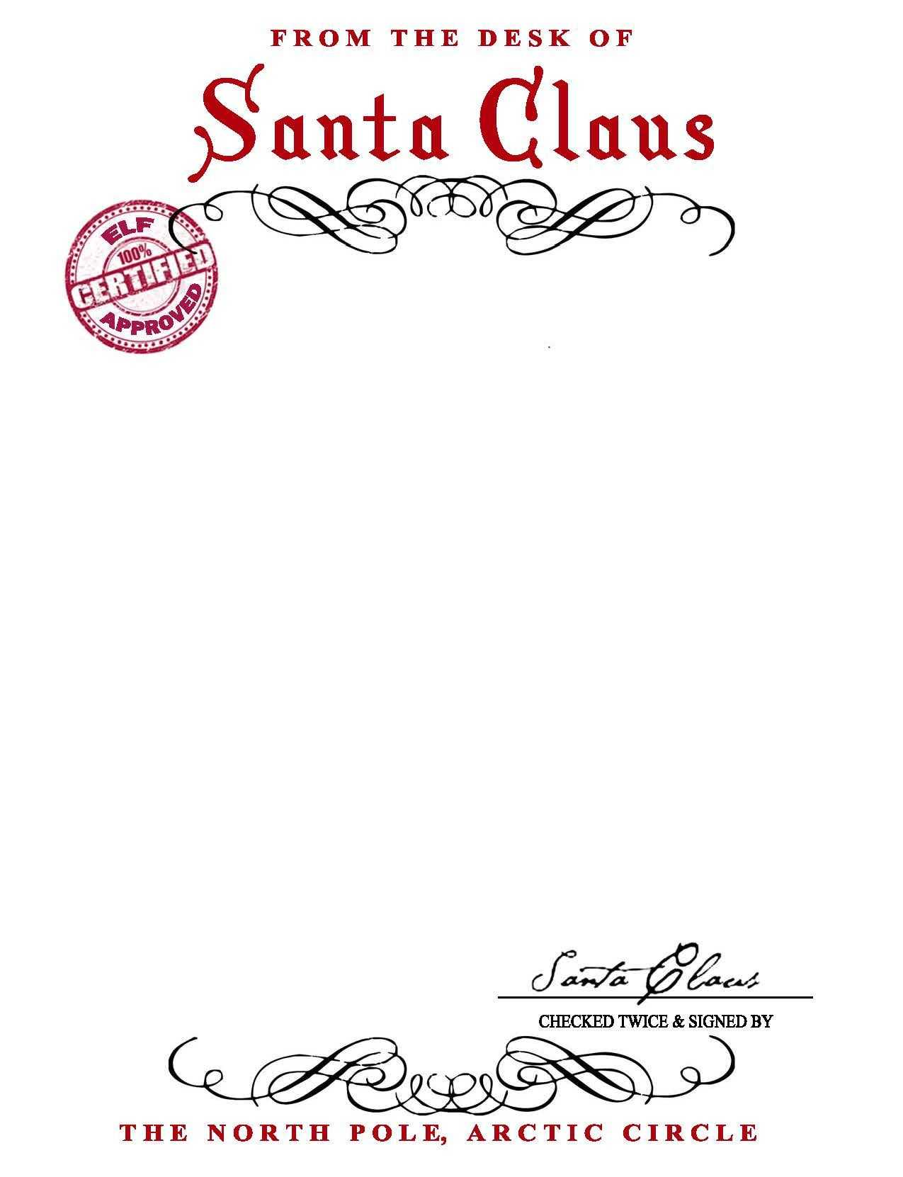 Santa Claus Letterhead.. Will Bring Lots Of Joy To Children Within Blank Letter From Santa Template