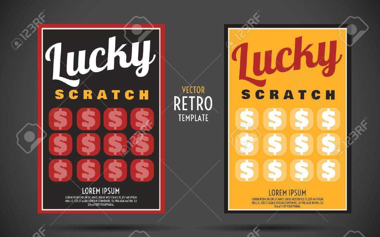 Scratch Off Lottery Card Creative Modern Ticket. Vector Color.. inside Scratch Off Card Templates