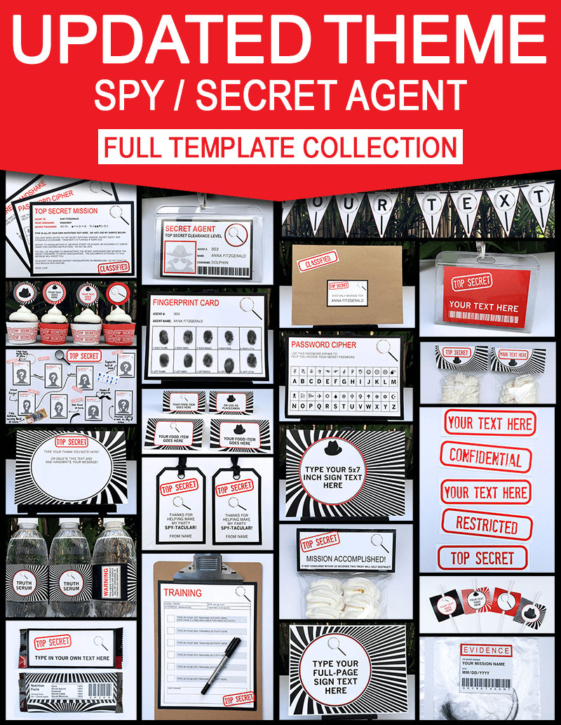 Secret Agent Birthday Party Invitations And Decorations | Spy Party Ideas Within Spy Id Card Template
