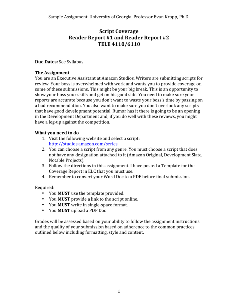 See A Sample Reader Report / Coverage Assignment With Assignment Report Template