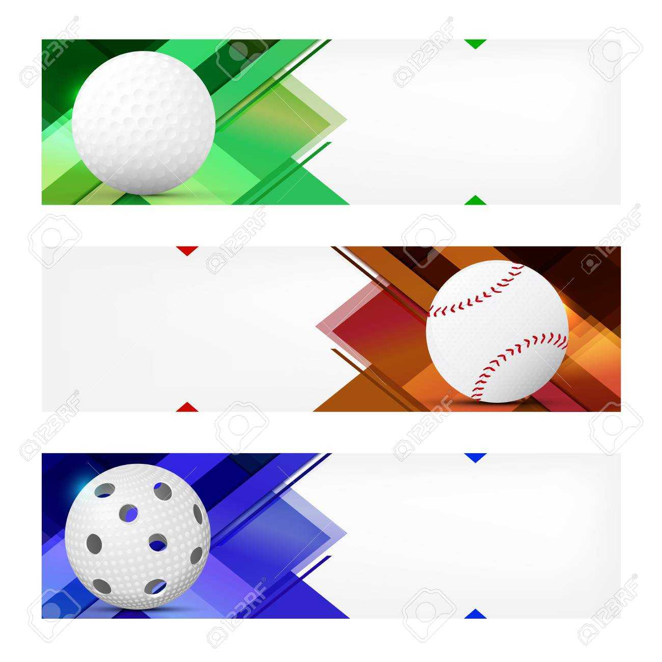 Set Of Sport Banner Templates With Ball And Sample Text In Separate.. For Sports Banner Templates