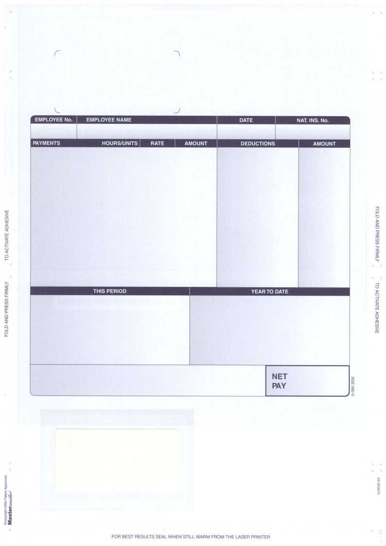 Sge060 - Compatible Self Seal Sage Payslips - No Tape Required pertaining to Blank Payslip Template