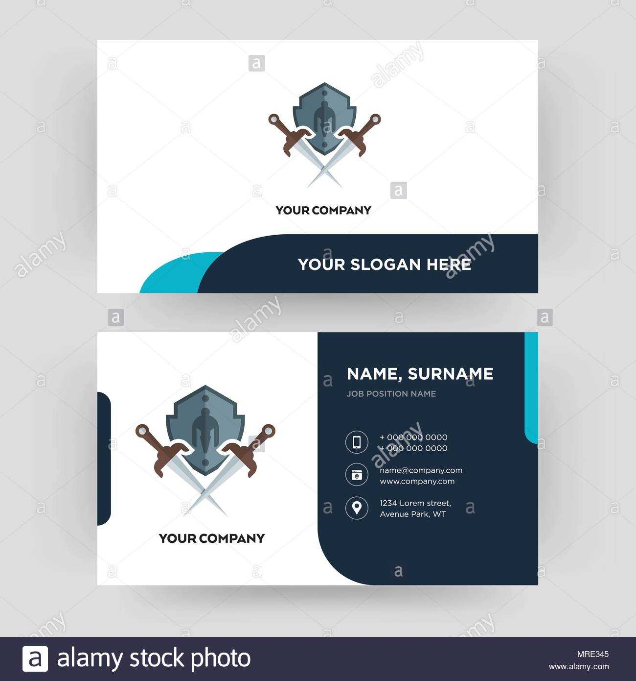 Shield And Sword, Business Card Design Template, Visiting Intended For Shield Id Card Template
