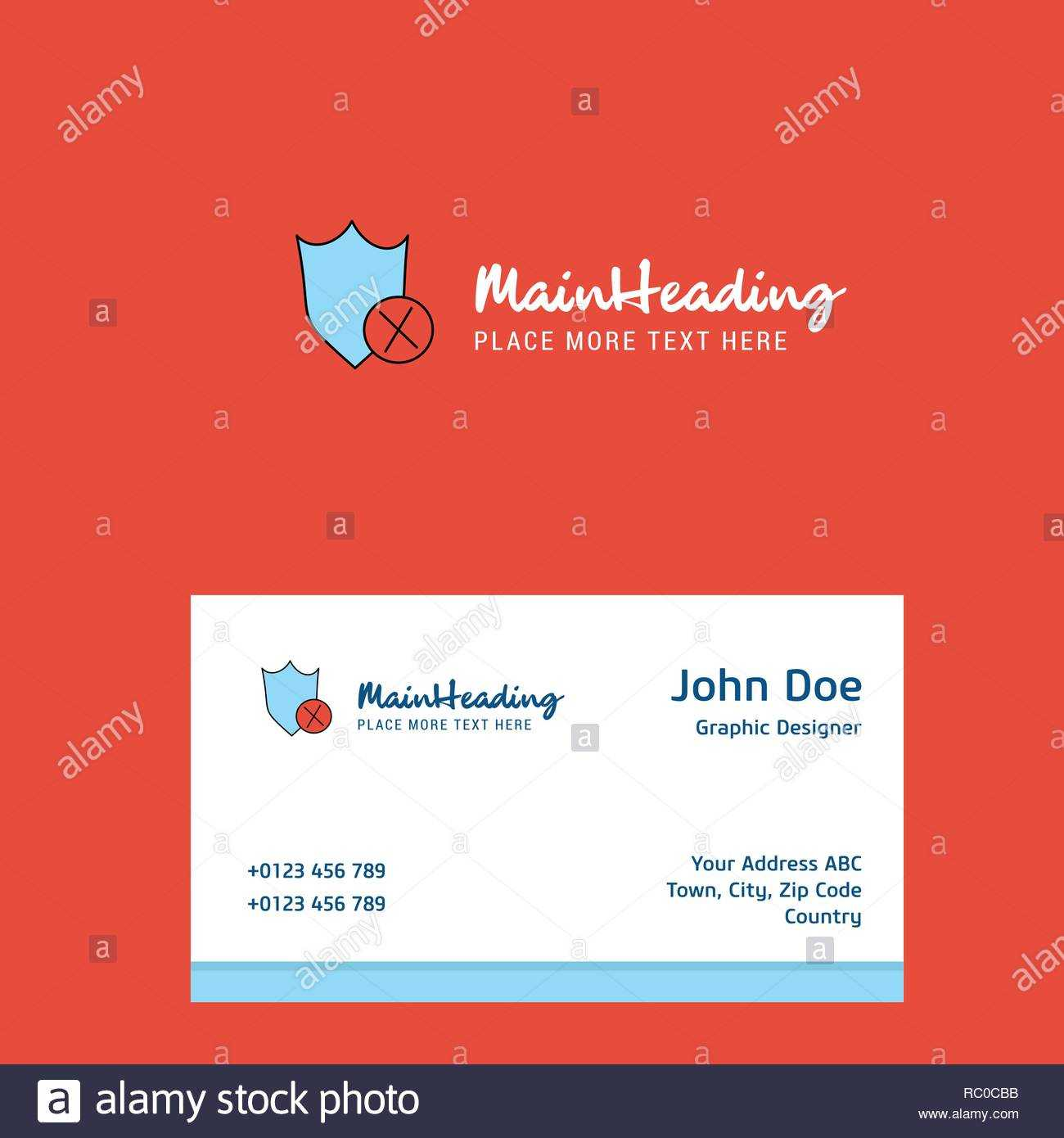 Shield Logo Design With Business Card Template. Elegant With Shield Id Card Template