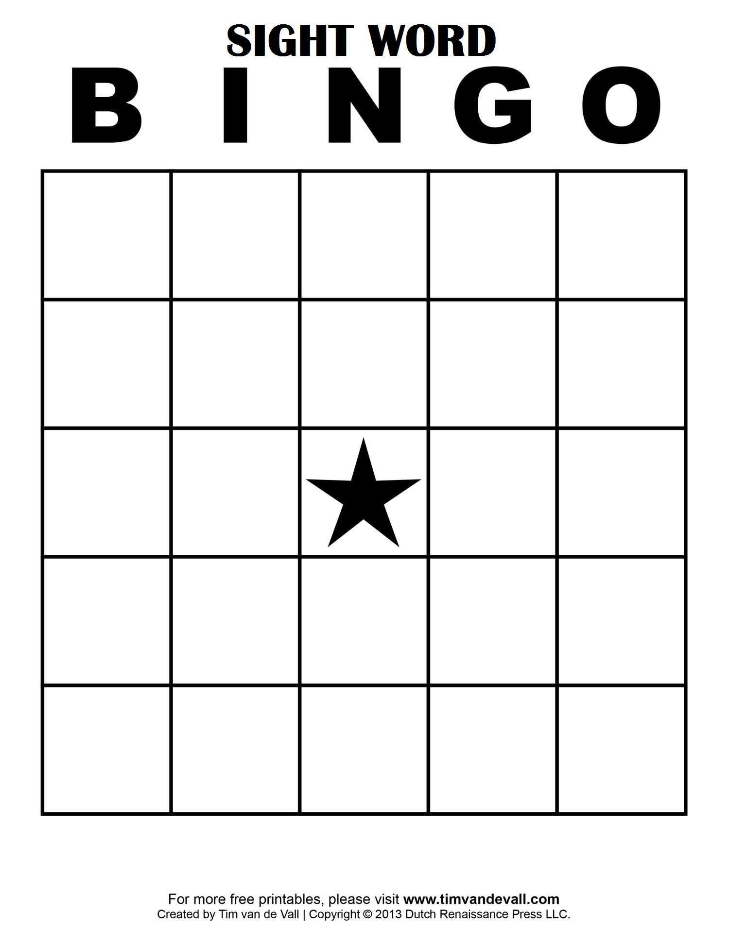 Sight Word Bingo …   Free Bingo Cards, Bingo Card Template Intended For Blank Bingo Card Template Microsoft Word