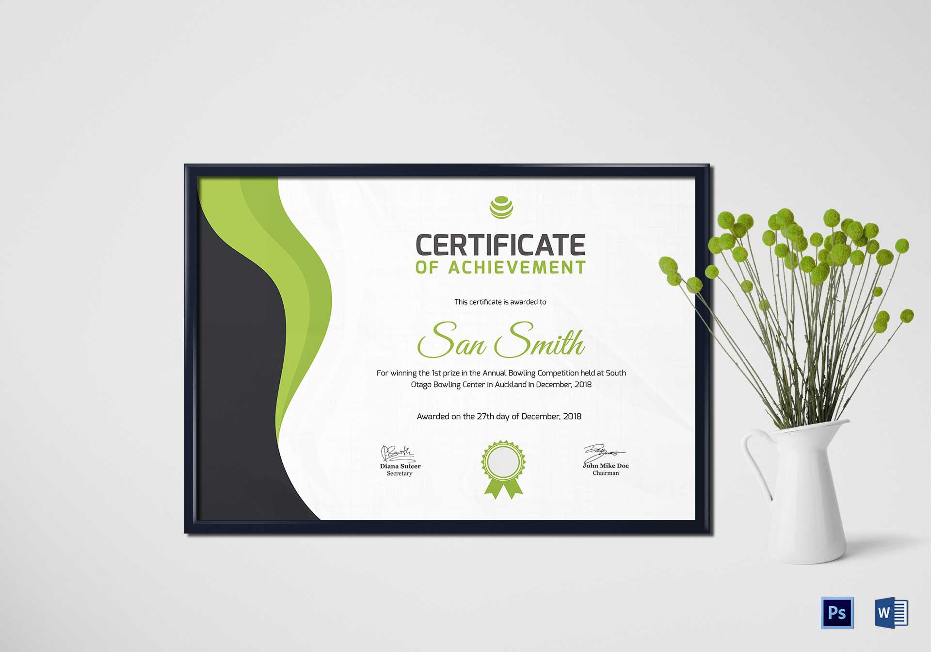 Simple Bowling Award Certificate Template In Award Certificate Design Template