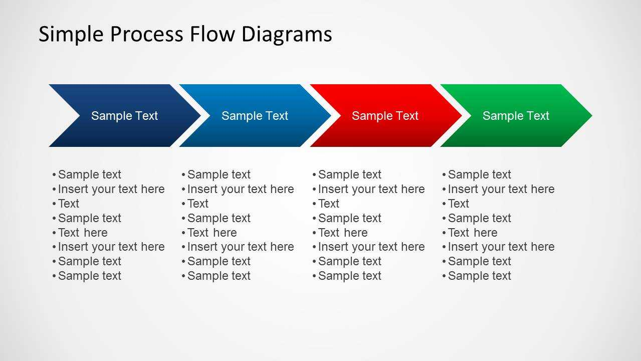 Simple Chevron Process Flow Diagram For Powerpoint Pertaining To Powerpoint Chevron Template