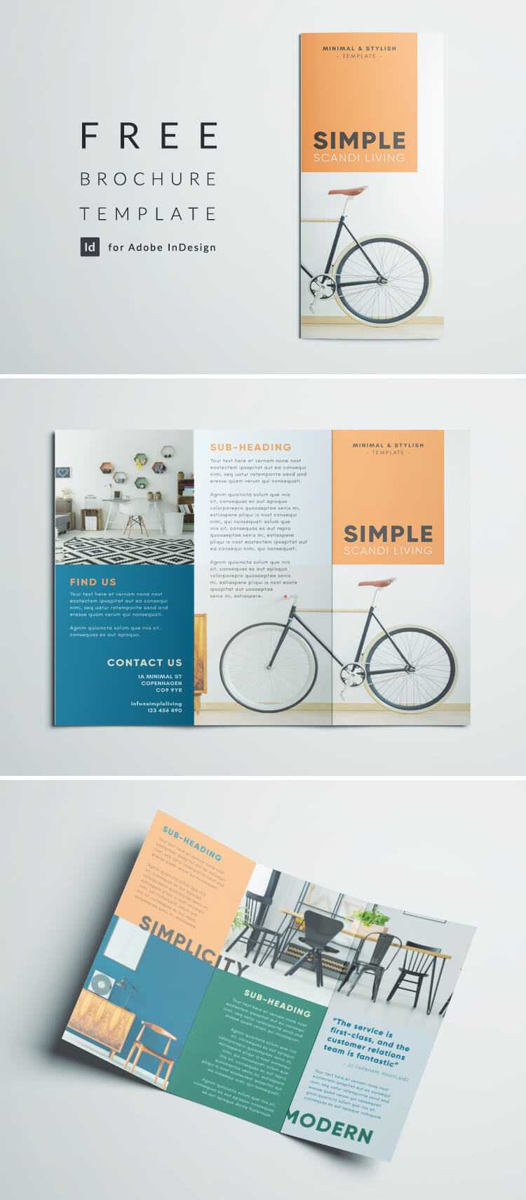 Simple Tri Fold Brochure | Free Indesign Template in Adobe Indesign Brochure Templates