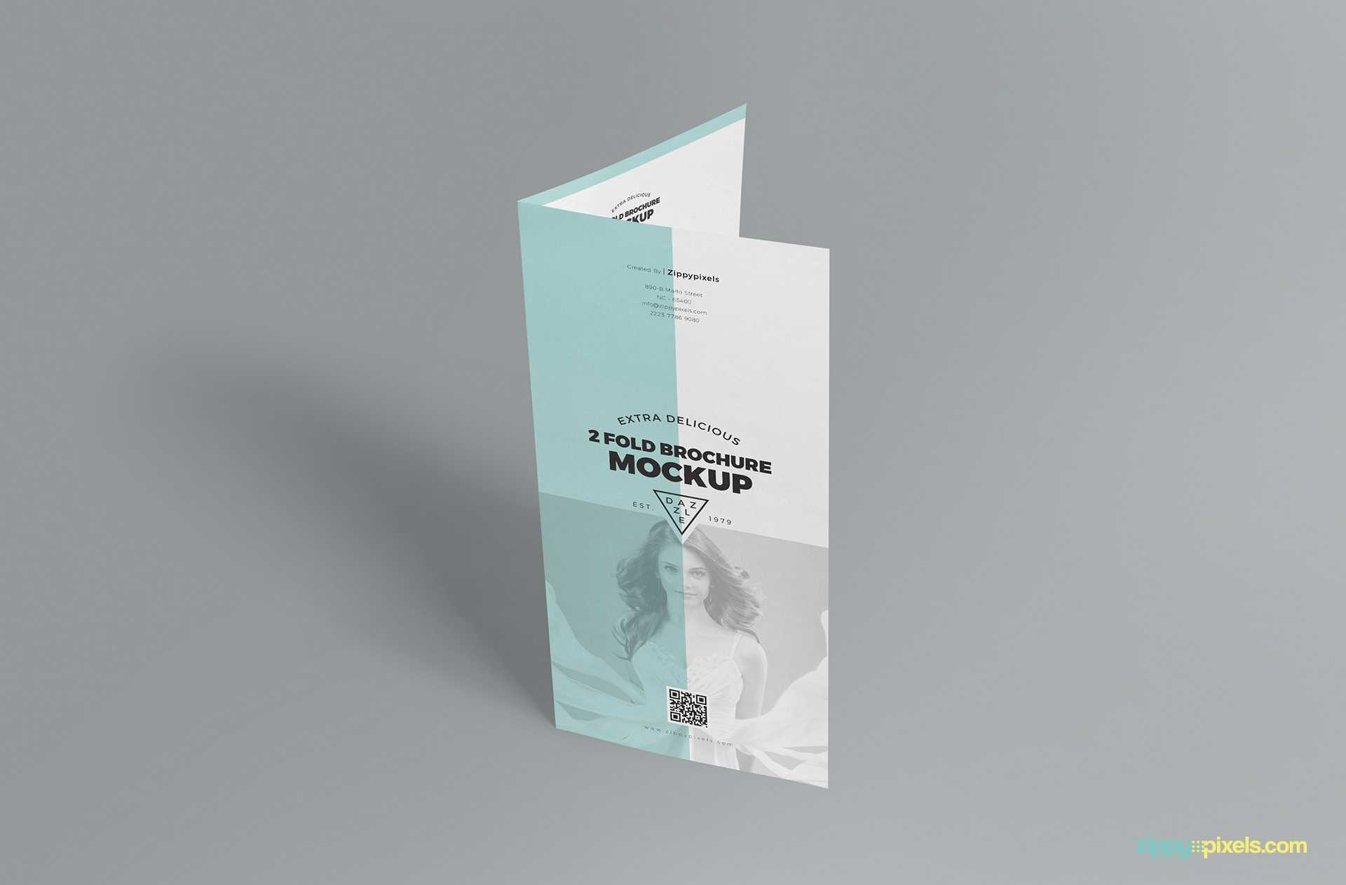 Slick Free 2 Fold Brochure Mockup Psd   Zippypixels In 2 Fold Brochure Template Psd