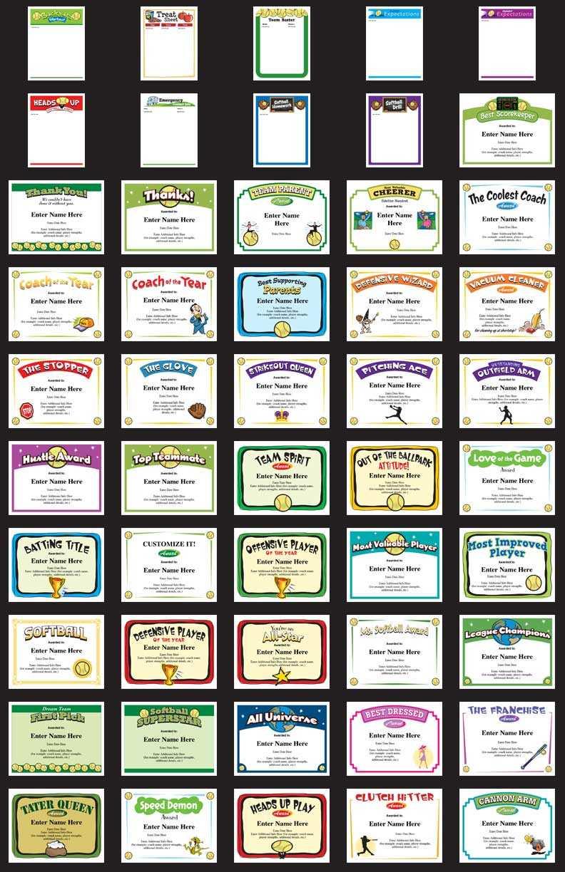 Softball Certificates - Free Award Certificates with Softball Certificate Templates Free