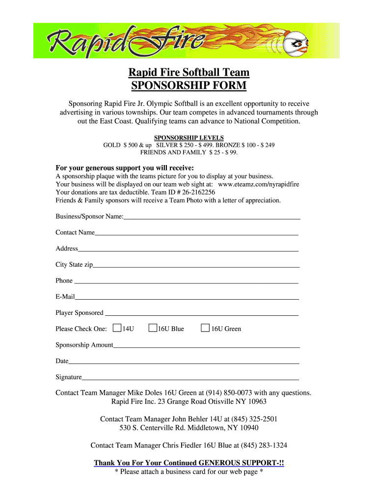 Softball Sponsorship Form – Fill Online, Printable, Fillable Pertaining To Blank Sponsor Form Template Free